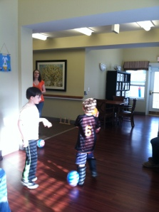 playing at Grandma M's memory care facility.